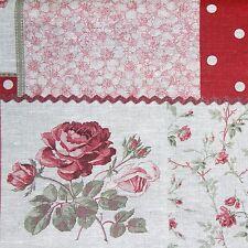 Tessuto lino patchwork rose pois fondo melange linen fabric cm 50 x 150