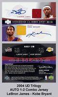 Lot of 25 2005 UD Trilogy AUTO 1-2 Combo Jersey LeBron James/ Kobe REPRINT