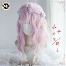 Cute Lolita Harajuku Pink Gradient Cosplay Daily Wig Long Curls Hair Princess