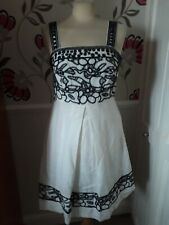 DERHY BAINMARIE 55% LINEN CREAM JEWELLED EMBROIDERED KNEE LENGTH DRESS SIZE S