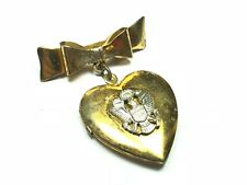 US Seal Gold Plate Stunning .925 Sterling Silver Heart /& Bow Locket Pendant