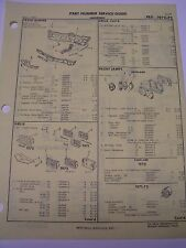 1970 1971 1972 Oldsmobile Cutlass 442  Crash sheets with part numbers