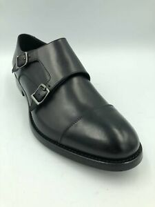Pal Zileri Beautiful Handmade in Italy Black Leather Double Monk Strap Shoes Siz