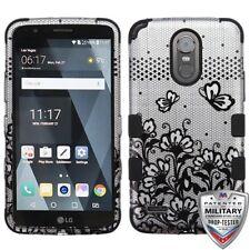 Black Lace Flowers 2D Silver Black TUFF Phone Cover LG LS777 Stylo 3 LG MP450