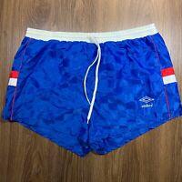 VTG Umbro USA Blue Red White Checker Soccer Shorts Mens Large