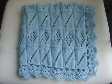 "BLUE HAND KNIT CROCHET BLANKET 27"" X 27"""