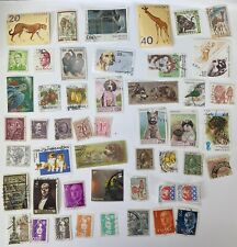 50 Used Postage Stamps Worldwide Off Paper Collage Junk Journal Mix Media