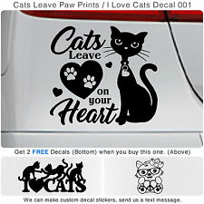 Cats Leave Paw Prints On Your Heart Art decor Car Vinyl Wall Sticker Decal 001