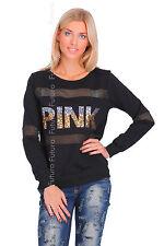 Ladies Tracksuit Top Jumper Sweater Sweatshirt Blouse Pullover Sizes 8-14 FC2116