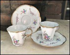 Vintage Pair Limoges Floral Pink Ribbon Gold Gilt Trim Mocha Duo Demitasse