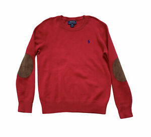 Polo Ralph Lauren Sweater Boys M (10-12) Elbow Patch Suede 100% Cotton Red Navy