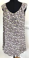 Monsoon Ladies Smock Top Size 12 Sleeveless Frill Neck Floral Print