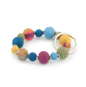 NEW JILZARAH Handmade Clay Beads BOHEMIAN MULTI 15mm SMALL Wrist Keychain