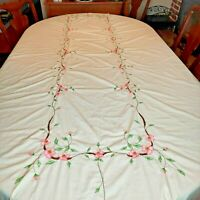 "Embroidered Tablecloth Rectangle 112"" x 66"" Pink Flowers Ivory Scalloped Edge"