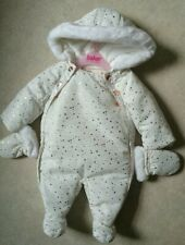 Ted Baker - Baby girls' white padded shower resistant snowsuit age 0-3 months