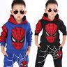 Kids Boys Spiderman Hoodie Sweatshirt Hooded Jumper Pullover Outfits Tracksuit