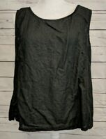 Russ Berens Size L Black Linen Sleeveless Top Textured Lagenlook