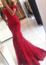 Mermaid Lace Long Bridesmaid Prom Dress Formal Wedding Evening Party Gown Stock