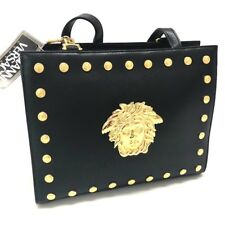 eeed38fb91 AUTHENTIC GIANNI VERSACE Medusa Studs Tote Bag Shoulder Bag Black Leather