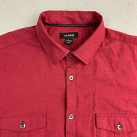 Alfani Button Up Shirt Mens Large Red Short Sleeve Casual