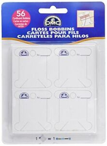 DMC 6101 Cardboard Floss White Bobbins, 56-Pack
