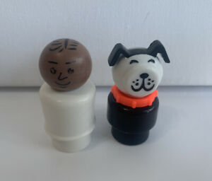 VINTAGE FISHER PRICE Little People DOG Man Figure Black White Toy Figures