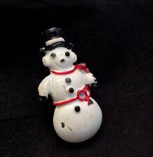 Hat Red Scarf Brooch Pin Vintage Enamel White Snowman Black