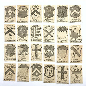 24 Original 1600's Small Engravings (Plate Prints) Of Family Crests Or Shields B