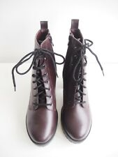 Womens Burgundy Heeled Military Style Chunky Boots Winter Christmas UK 6