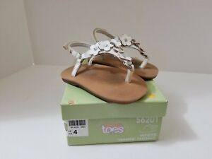 Teeny Toes Baby/Toddler Girls size 4 Sandal Shoes White with Flowers 56201