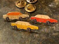 BMW ENAMEL ADV LOGO RED ORANGE YELLOW LAPEL HAT PINs & BACK VINTAGE LOT 3 EU