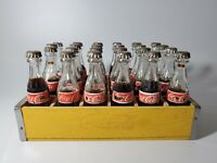 "Vintage Miniature Coca Cola Bottles with Wood Crate 24-3"" Bottles RARE"