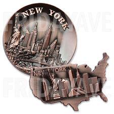 2x Bronze US America Map New York NY Landmarks Souvenir Fridge Metal Magnets Set