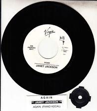 """JANET JACKSON  Again 7"""" 45 rpm vinyl record + juke box title strip RARE!"""