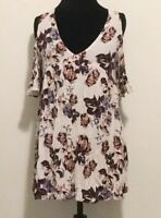 Kendall & Kylie Top Size Medium Women's White Floral Cold Shoulder Tunic Top