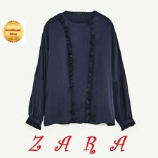 ZARA New Frilled Sateen Blouse Long Dropped Sleeves Navy Blue Top Size S+(M)