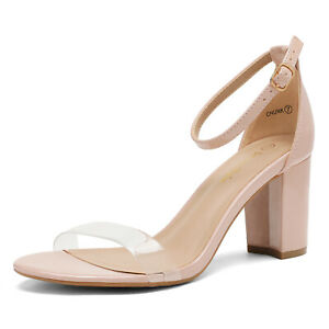 DREAM PAIRS Women's Chunky High Heel Sandals Ankle Strap Open Toe Dress Shoes