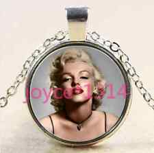 Marilyn Monroe Cabochon Tibetan silver Glass Chain Pendant Necklace #2051