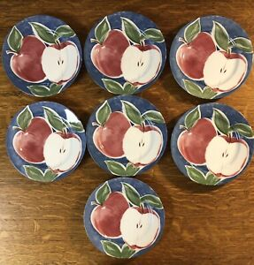 """Set Of 7 Japan Pearl Apple Farmhouse Pattern 8"""" Round Salad Pottery Home Plate"""