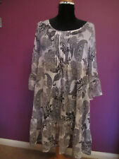 NEXT SP SHEER BLACK AND WHITE PAISLEY RUFFLE LONG SLEEVED DRESS VGC SIZE 12