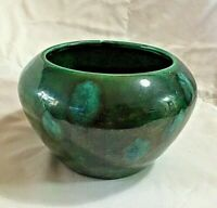 Vintage The Violet Pot Pottery 1997 Iridescent Green Glaze Planter Vase