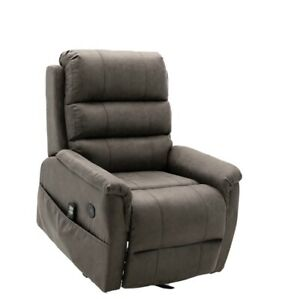 Power Lift Chair Recliner with Heat and Massage in Gray Palomino Fabric