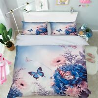 3D Butterfly Flower 8 Bed Pillowcases Quilt Duvet Cover Set Single Queen King CA