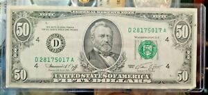 1974 $50 Fifty Dollar Bill Federal Reserve Note Cleveland OH. Old Banknote