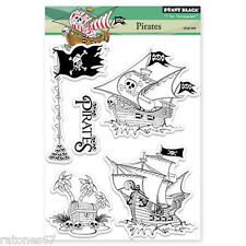 New Penny Black PIRATES Clear Stamp Boys Ship Treasure Chest Flag Skull Happy