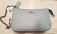 707de6bb61 Coach F53340 Silver Dusk Blue Pebble Leather Large Wristlet W chain Clutch
