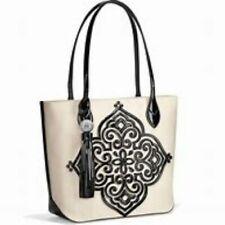"""Brighton """"STARLA"""" White-Black Canvas Tote Bag ($320) NWT/Dust Cover"""