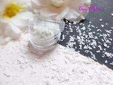 Nail Art *Wedding* White Myler Shatter Shard Flakes Mix Cut Pot Spangle Glitter