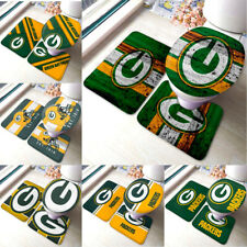 Green Bay Packers 3PCS Non-Slip Bathroom Bath Mat Toilet Lid Cover Contour Rug