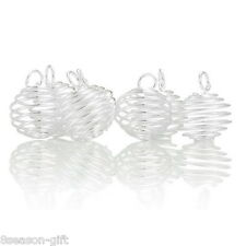 HX 50PCs Silver Plated Spiral Bead Cages Pendants Findings